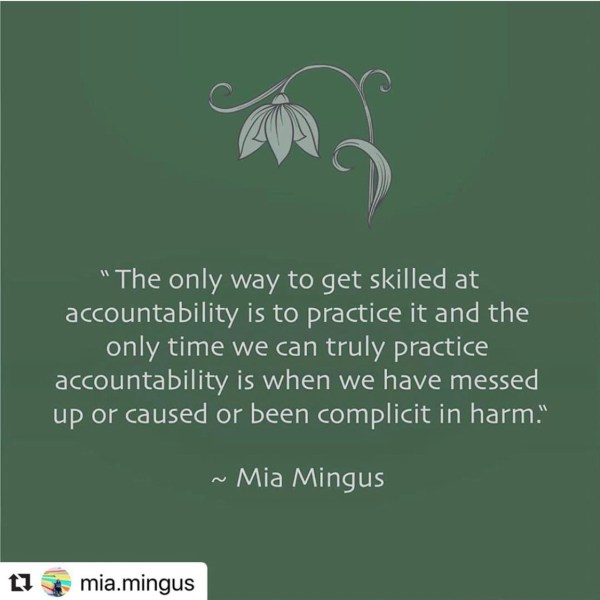 "Image of simple white text on an ashy, muted green background that reads, ""The only way to get skilled it accountability is to practice it and the only time we can truly practice it is when we have messed up or caused or been complicit in harm."" ~ Mia Mingus."""