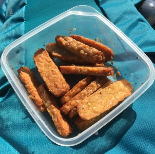 Clear container of tempeh sticks on top of teal backpack: on a hike.