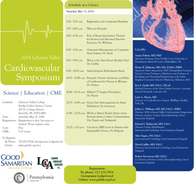 Free Registration for the 5th Annual Lebanon Valley Cardiovascular Symposium