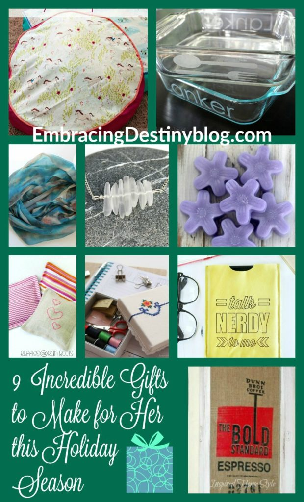 9 Unique DIY Gifts for Her ~ Make a special homemade Christmas gift for the women on your list. 5 Days of a Homemade Christmas at heartandsoulhomeschooling.com