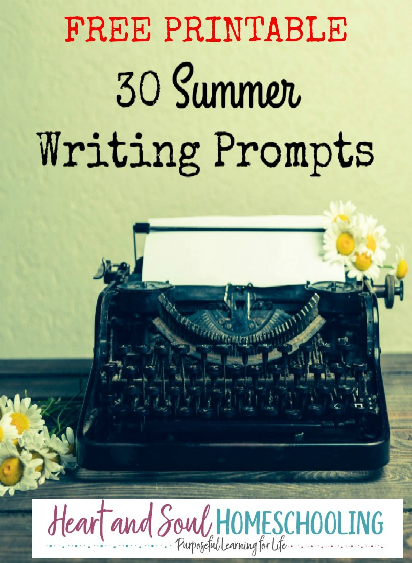 graphic about Free Printable Writing Prompts known as 30 Summer time Composing Prompts with Totally free Printable Magazine