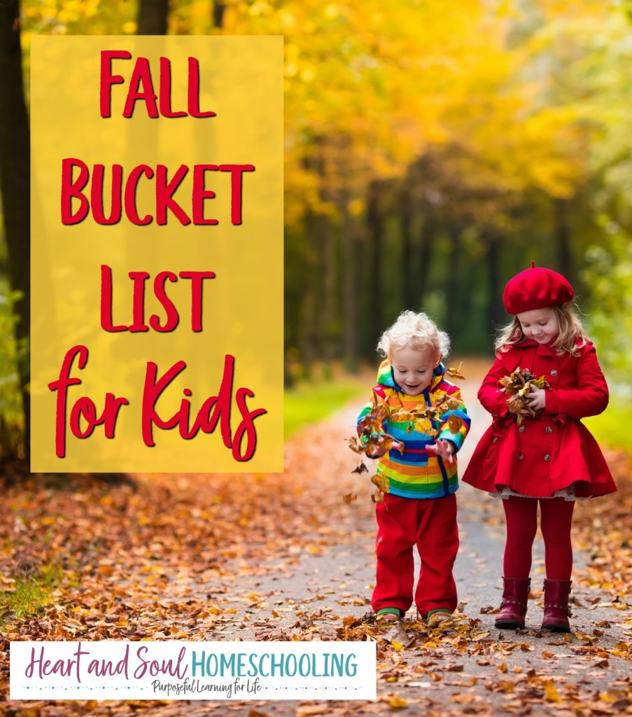 25 ideas for a fall bucket list for kids! Educational fun for homeschooling. Fall fun ideas for kids.