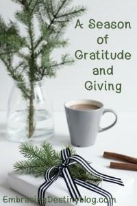 A Season of Gratitude and Giving blog series at Embracing Destiny