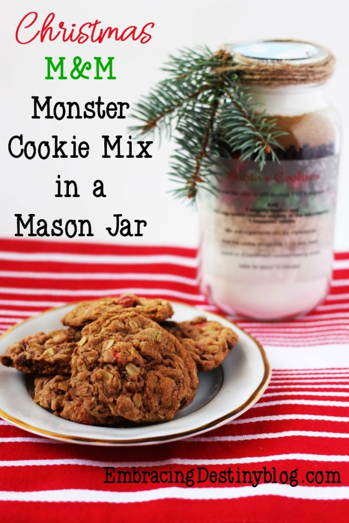 Christmas M&M Monster Cookie Mix in a Mason Jar   Heart and Soul ...
