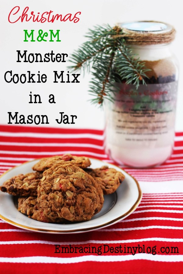 Christmas M&M Monster Cookie Mix in a Mason Jar