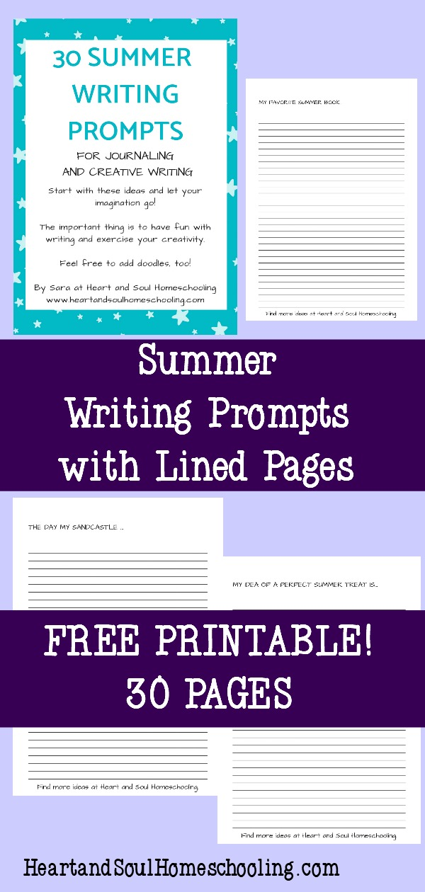 free printable summer writing prompts with lined pages for kids | writing prompts for journaling and creative writing | writing prompts for kids | homeschooling | homeschool | free journaling pages for kids