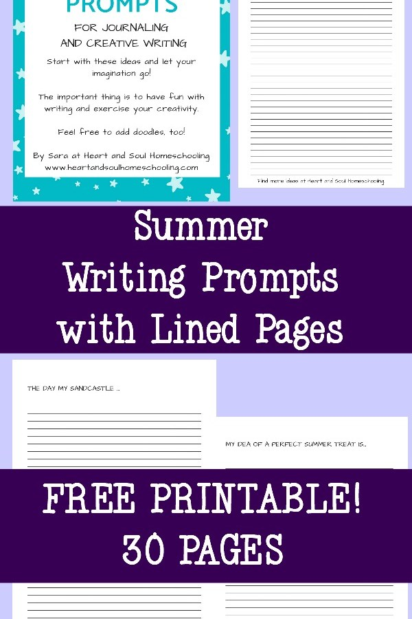 30 Summer Writing Prompts with Free Printable Journal