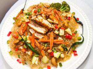 Chicken & Veggie Bean Thread Noodle Dish