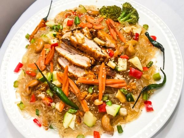 Chicken Veggie Bean Thread Noodle Dish Heart At Work