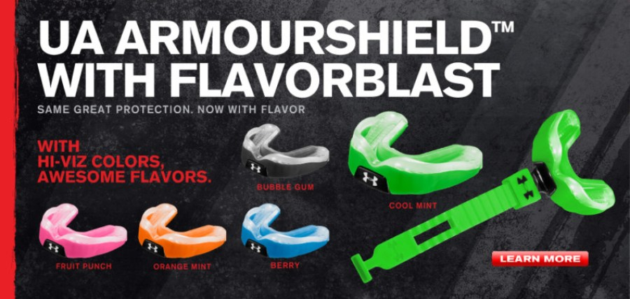 5 colors and flavors to choose from with the UA ArmourShield MouthGuard
