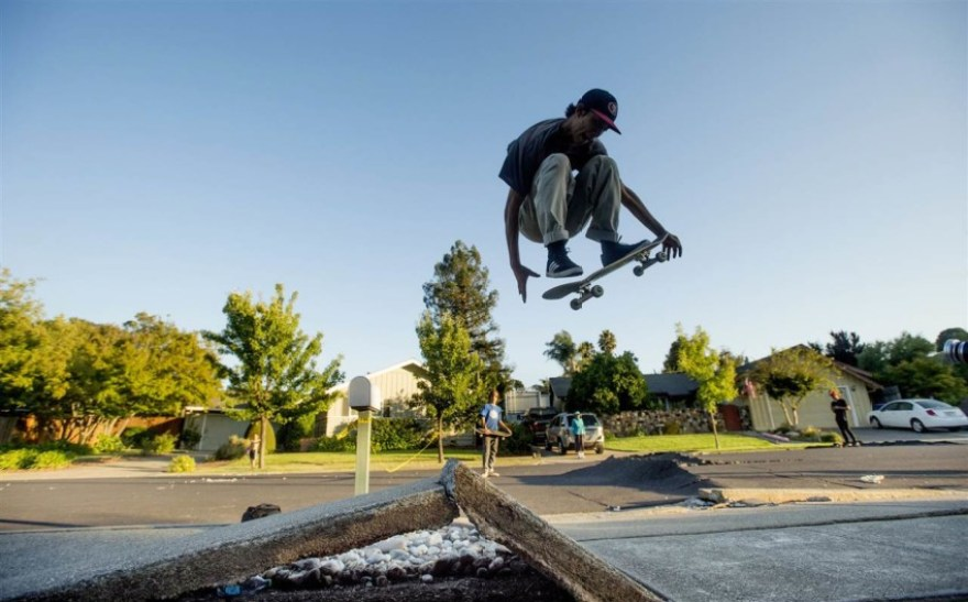 Skateboarder finding hope after an earthquake hits napa, california