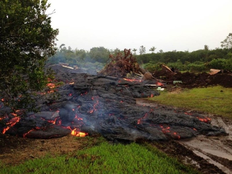 beginning of the destruction from the Puna Lava Flow