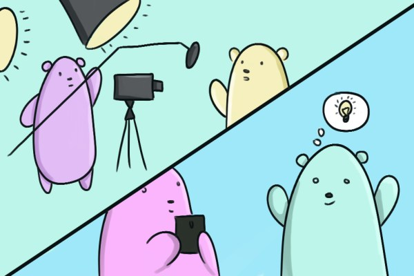 little cartoon bears working on getting the best shot for their video marketing