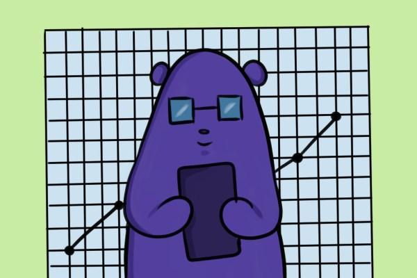 this purple cartoon bear loves google data studio