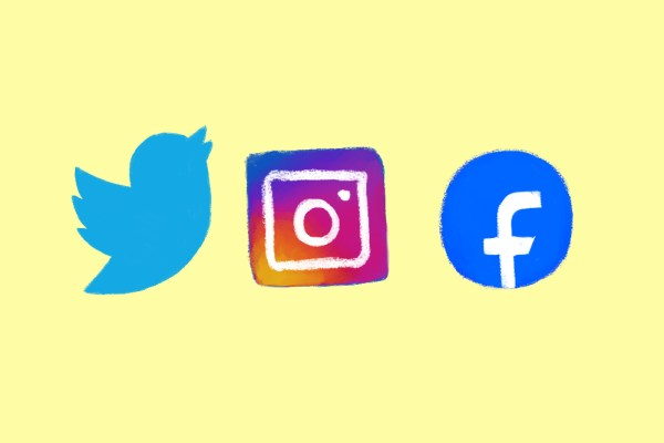 social media icons on a yellow background