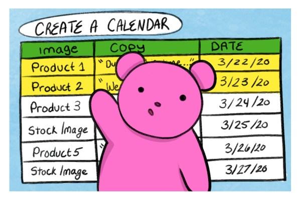 bear creating a social media calendar at home