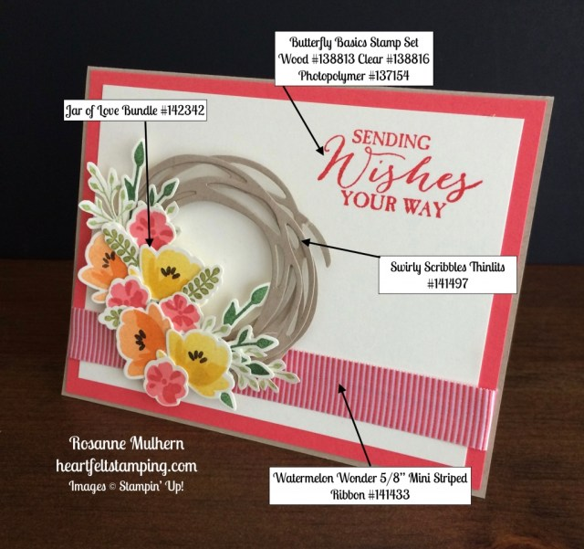 Stampin Up Jar of Love Wreath Birthday Cards Ideas - Rosanne Mulhern