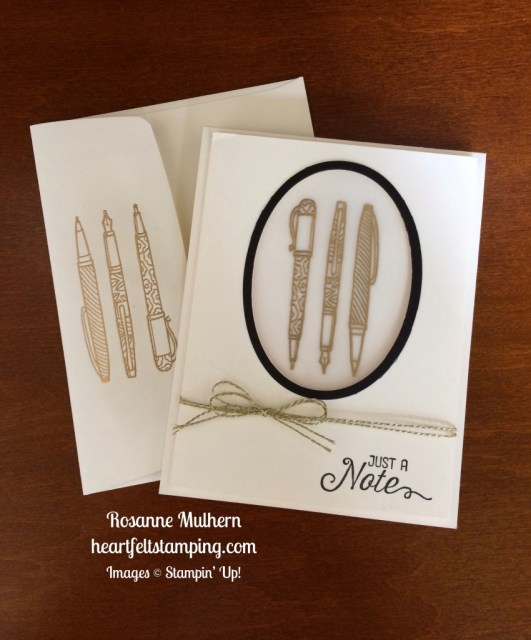 Stampin Up Crafting Forever Note Card Idea - Rosanne Mulhern