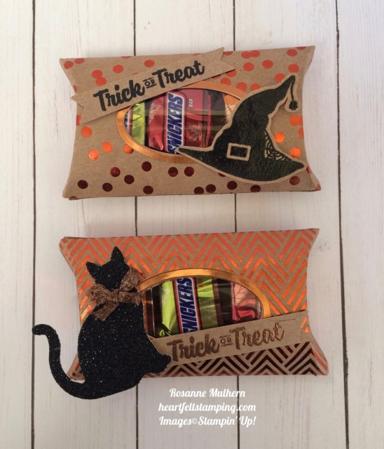 Stampin Up Trim Your Stockings Halloween Pillow Box - Rosanne Mulhern