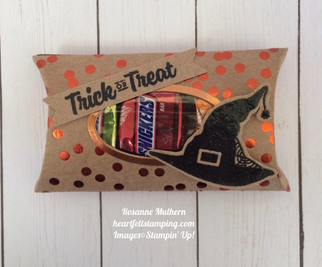 Stampin Up Trim Your Stockings Halloween Pillow Boxes - Rosanne Mulhern