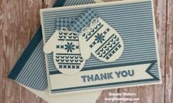 Stampin Up Smitten Mittens Thank You Card Ideas- Rosanne Mulhe