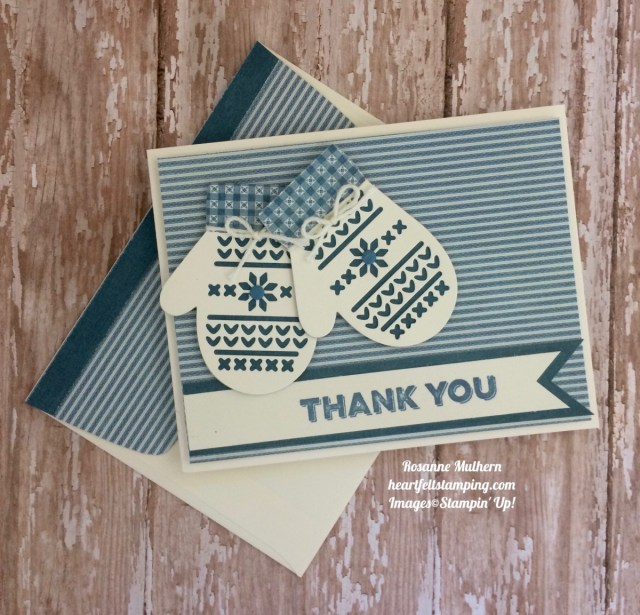 Stampin Up Smitten Mittens Thank You Card Ideas- Rosanne Mulhe
