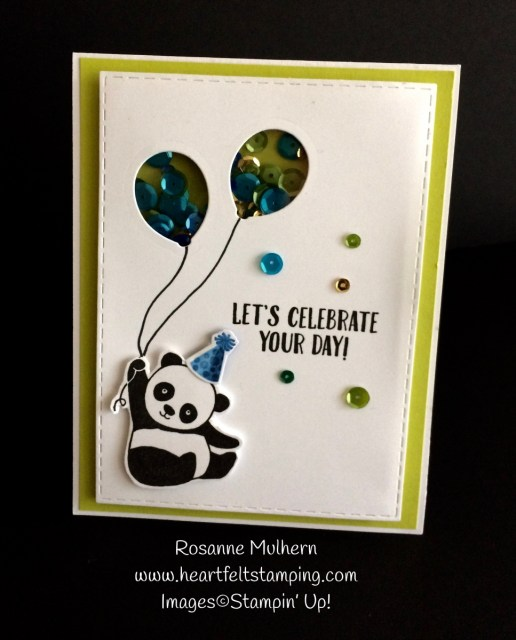 Stampin Up Party Pandas Birthday Card Tic Tac Toe Challenge - Rosanne Mulhern