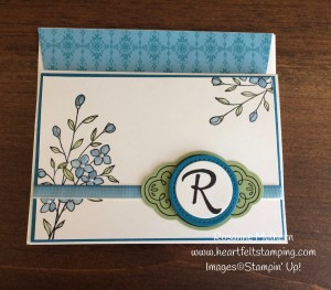 Stampin Up Touches of Texture Mongrammed Note Card - Rosanne Mulhern