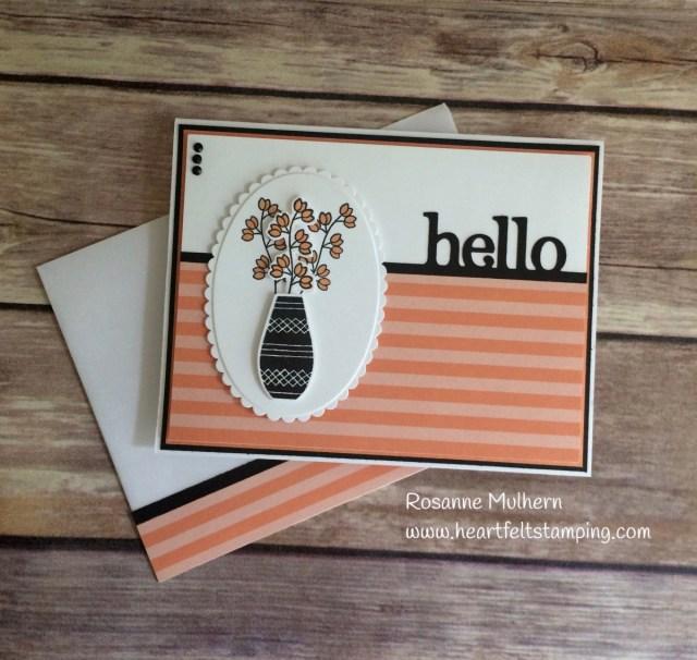 Stampin Up Varied Vases Hello card - Rosanne Mulhern Heartfelt Stamping