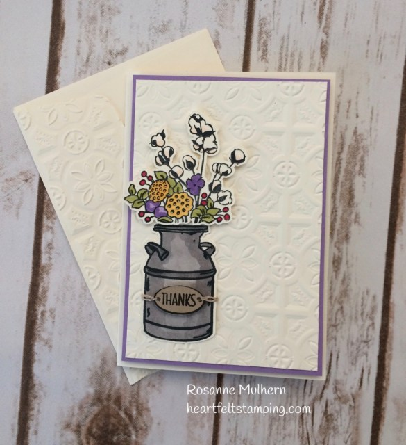 Stampin Up Country Home Thank You Card- Rosanne Mulhern Heartfelt Stamping