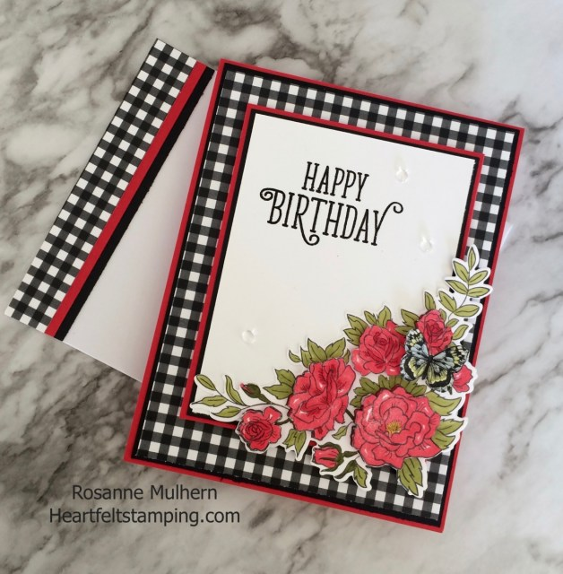 Stampin Up Climbing Roses Birthday Card Idea - Rosanne Mulhern Heartfelt Stamping