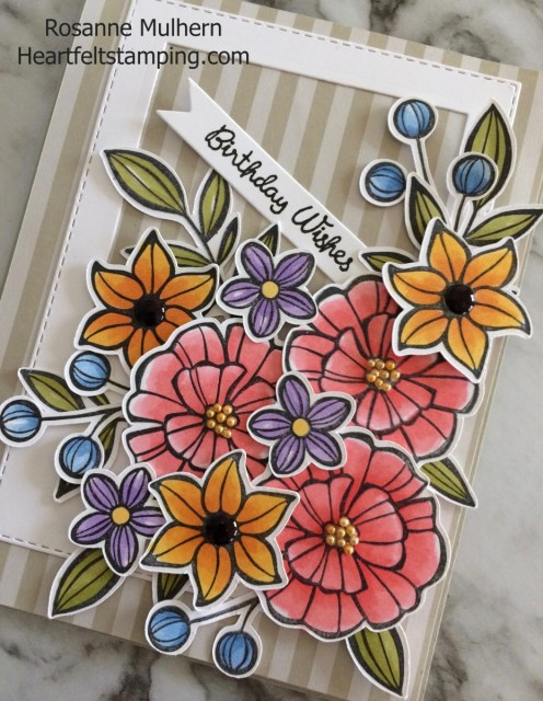 Stampin Up Falling Flowers Birthday Card Idea-Rosanne Mulhern Heartfelt Stamping