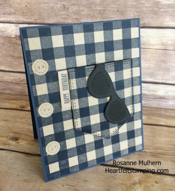 Stampin Up Buffalo Check Masculine Birthday Card- Rosanne Mulhern Heartfelt Stamping