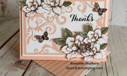 Stampin Up Magnolia Lane Thank You Card - Rosanne Mulhern Heartfeltstamping