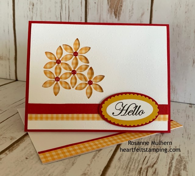 Stampin up Tasteful Background Hello and Holiday Card Idea- Rosanne Mulhern stampinup