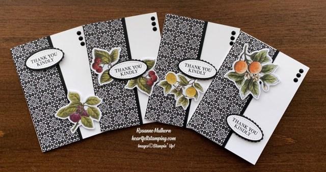 Stampin Up Botanical Prints Medley Thank You Note card set-Rosanne Mulhern stampinup