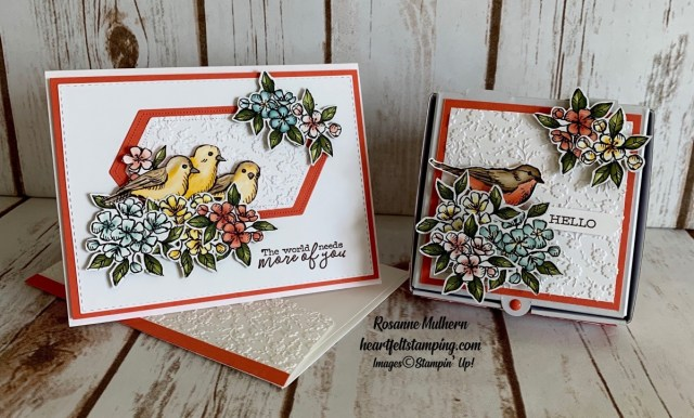 Stampin Up Free as a Bird Friendship Card and Pizza Box Gift -Rosanne Mulhern stampinup