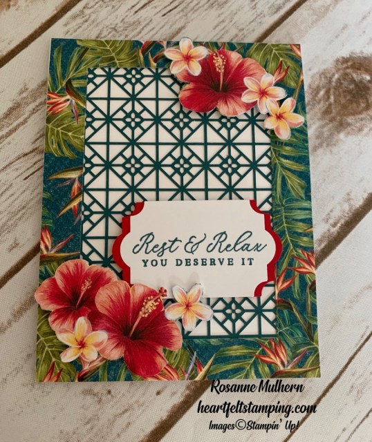 Stampin Up Timeless Tropical Retirement Card- Rosanne Mulhern stampinup