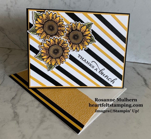 Stampin Up Celebrate Sunflowers Thank You Card Idea - Rosanne Mulhern stampinup