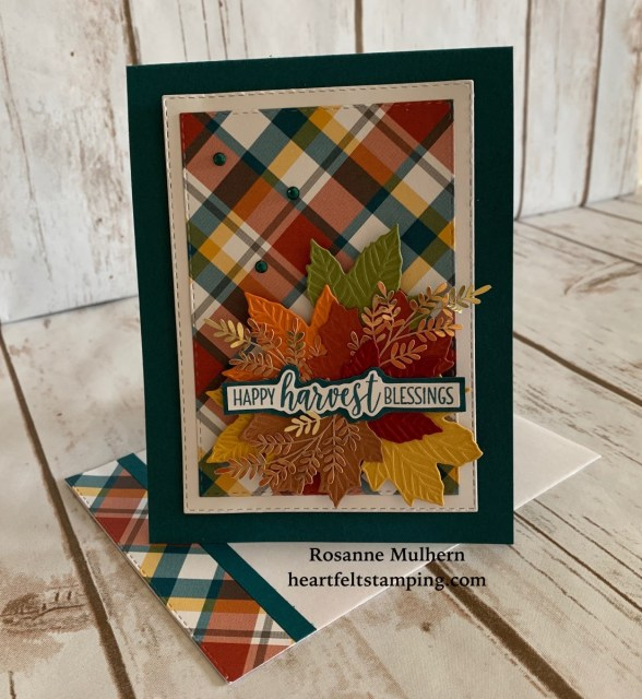 Stampin Up Gathered Leaves Plaid Tidings Fall Card Idea -Rosanne Mulhern stampinup