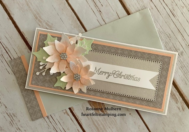 Stampin Up Poinsettia Petals Christmas Card Idea -Rosanne Mulhern
