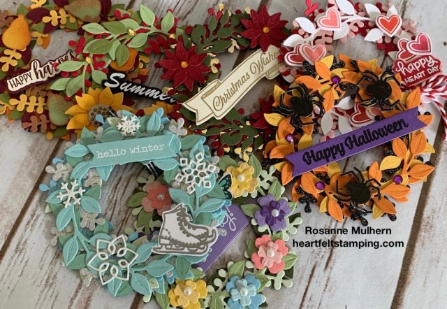 Seasonal Wreaths Calendar Card-Rosanne Mulhern stampinup