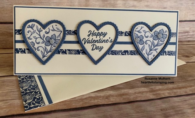 Stampin Up Slimline Meant To Be Valentine Card Idea -Rosanne Mulhern stampinup
