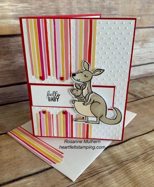 Stampin Up Kangaroo & Company Baby Card Idea -Rosanne Mulhern stampinup