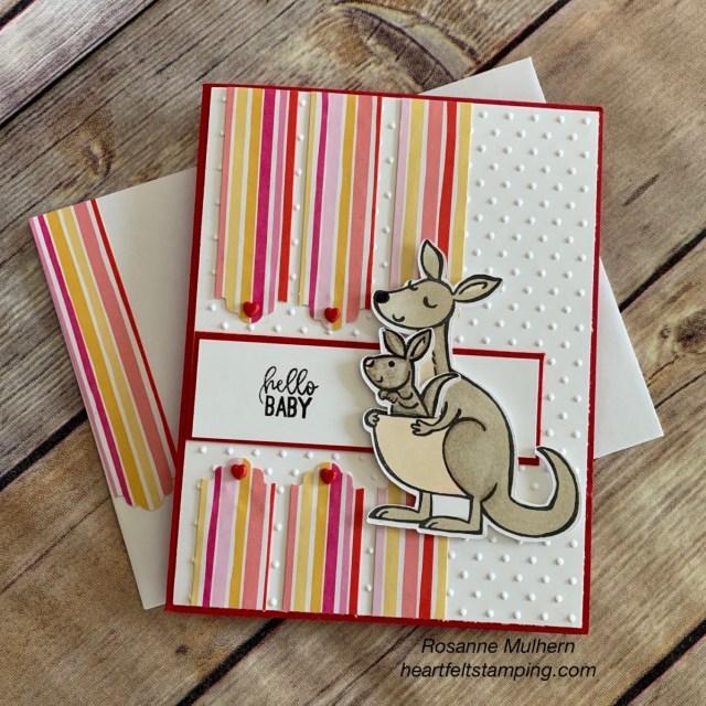 Stampin Up Kangaroo & Company Baby Card Idea - Rosanne Mulhern stampinup