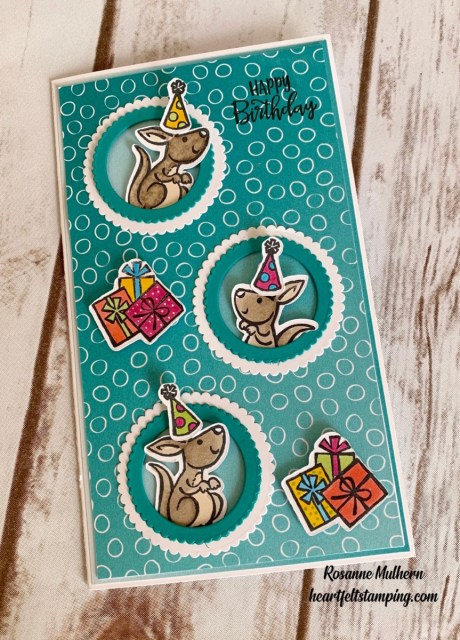 Stampin Up Kangaroo and Company Slimline Birthday Card - Rosanne Mulhern stampinup