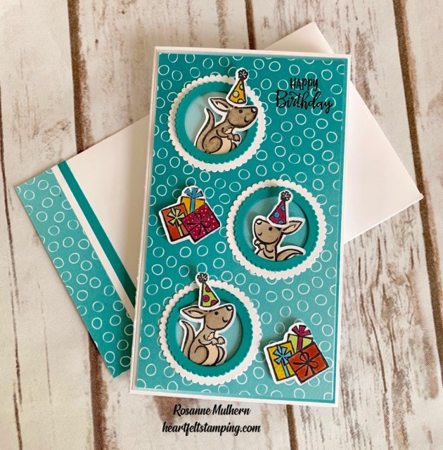 Stampin Up Kangaroo and Company Slimline Birthday Card- Rosanne Mulhern stampinup