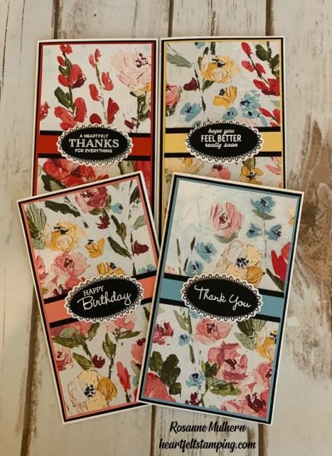 Stampin Up Fine Art Floral Mini Slimline Card Ideas - Rosanne Mulhern stampinup