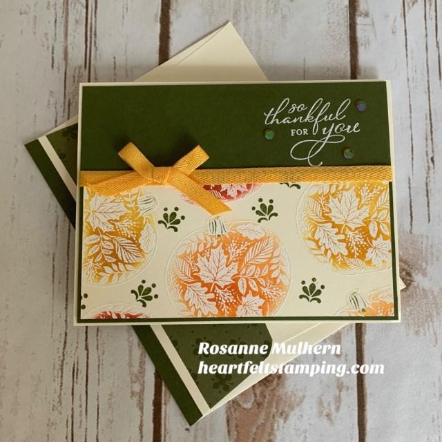 Stampin Up Pretty Pumpkins Thanksgiving Card Idea- Rosanne Mulhern stampinup