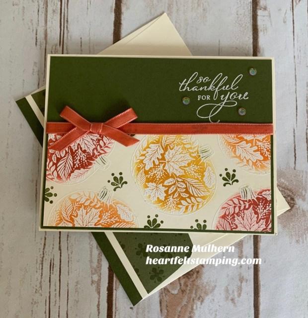 Stampin Up Pretty Pumpkins Thanksgiving Card Idea -Rosanne Mulhern stampinup